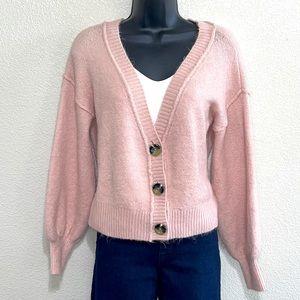 Topshop Pink Button Down Cardigan